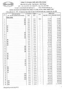 Bảng giá ống và phụ tùng PPR Tiền Phong